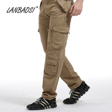 LANBAOSI Stylish Mens Casual Cargo Pants Loose Army Multi-pocket Tactical Overalls Work Wear Trousers Plus Size