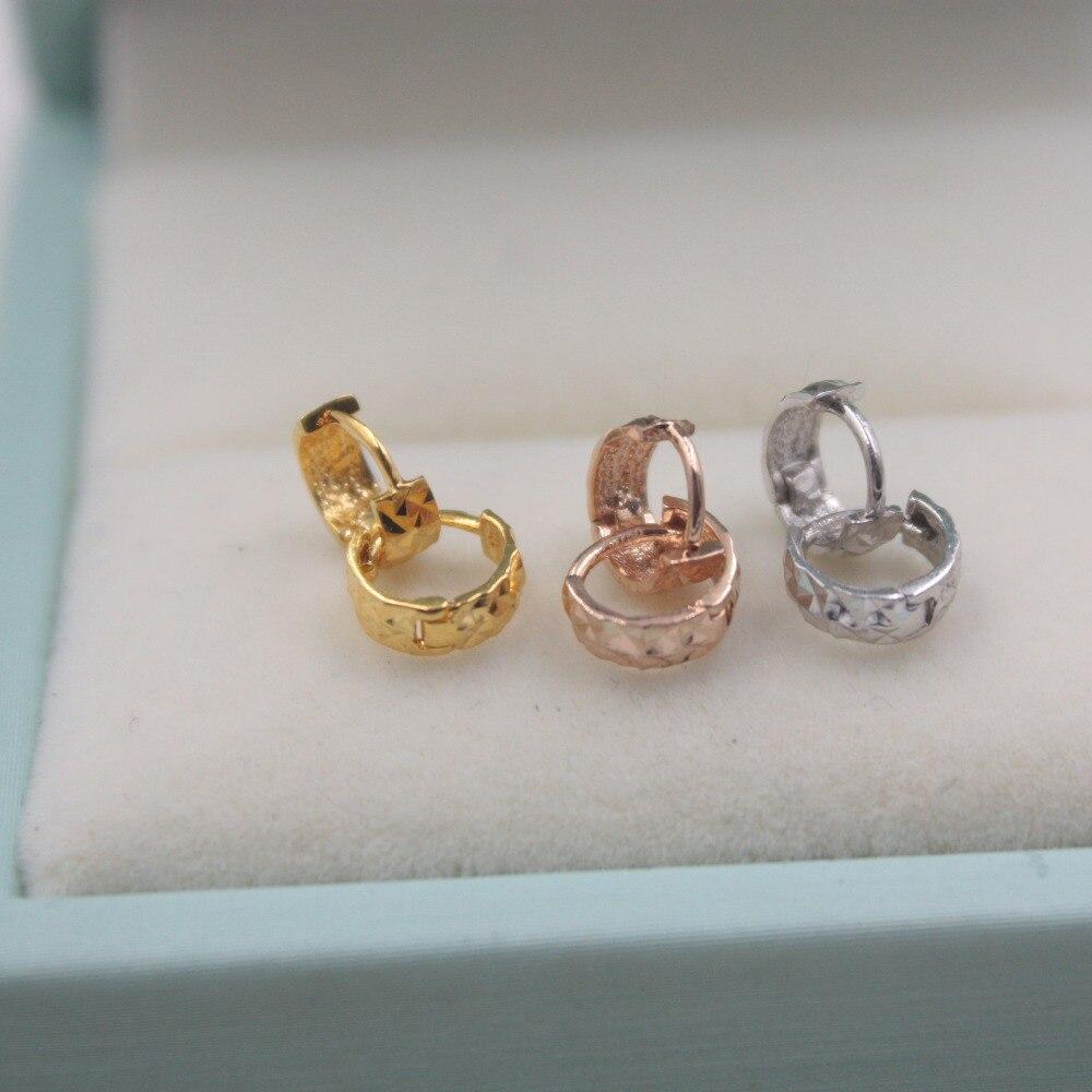 Véritable 18K Rose jaune or élégant boucles d'oreilles Au750 bijoux Simple fête étoile boucles d'oreilles pour les femmes fille dans 1g (très petit)