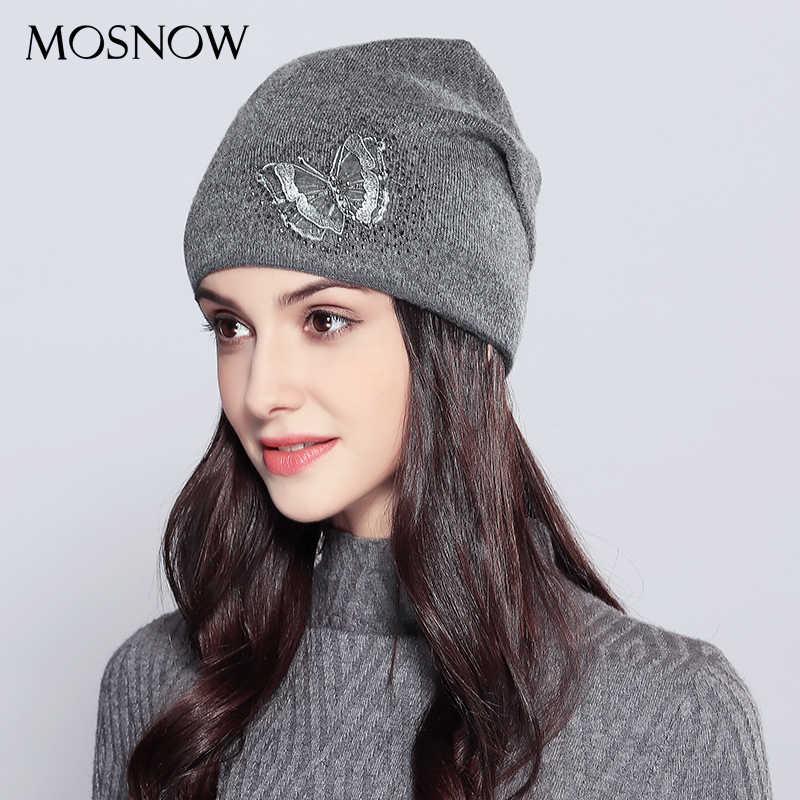 2019 ผู้หญิงหมวกขนสัตว์ Vogue ผีเสื้อ Rhinestones คุณภาพสูงฤดูใบไม้ร่วงฤดูหนาวถักหมวก Beanie หมวกหมวกหญิงหมวก # MZ718