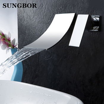 Bathroom faucet Waterfall basin faucet Into the wall washbasin water tap Single handle Double hole basin faucet LT-304L phasat n pblt waterfall basin faucet silver