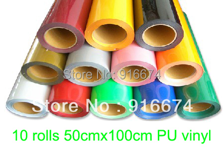 Fast Free shipping DISCOUNT 10 pieces 20x3' (50x100cm) heat transfer PU vinyl  heat press cutting plotter