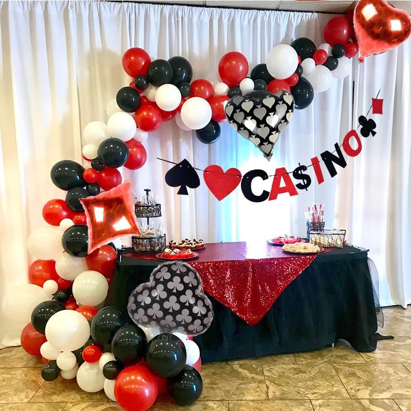 Balão arco Decoração Party Poker do Casino Las Vegas Casino Tema Decoração Anniversare Adulte Decorações Da Festa de Aniversário Adulto