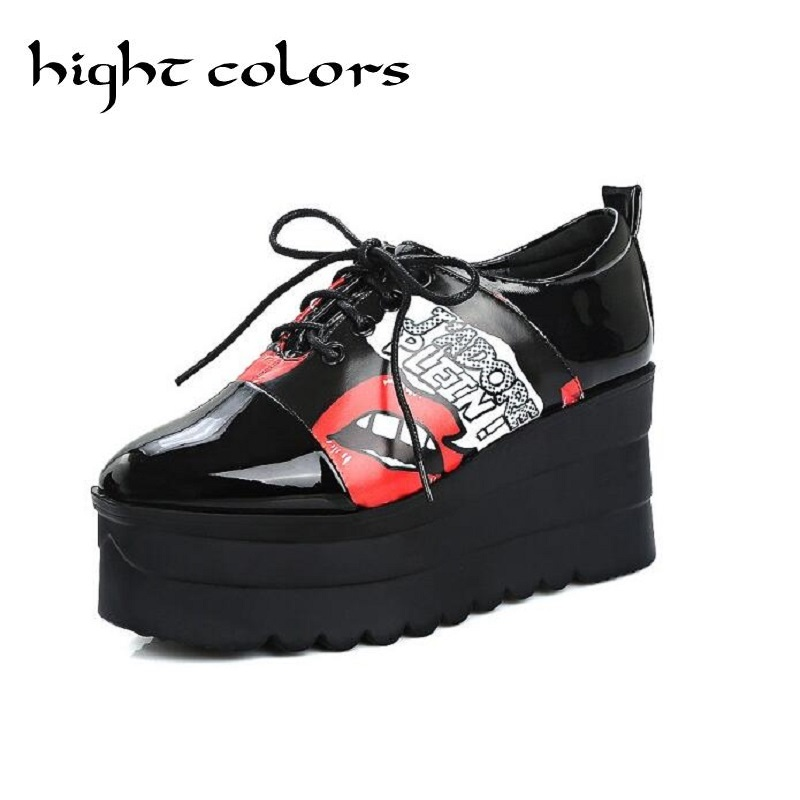 Fashion Lace-Up Vintage Oxford Shoes Woman Square Toe White Printing Platform Wedges Casual Shoes Zapatos Mujer Sapato Feminino 10 шт лот tqm6m4048