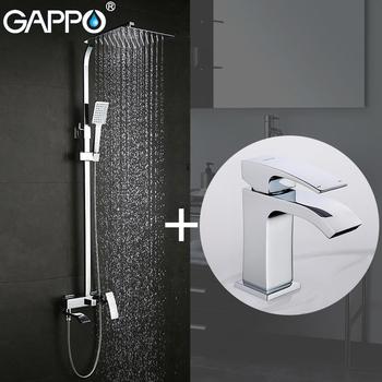 GAPPO baterie natryskowe wanny kran bateria do łazienki baterie umywalkowe kran do zlewu i umywalki zestaw sanitarny tanie i dobre opinie Brass G2407+G1007-1 shower faucets shower bathroom faucet shower shower set bathroom mixer