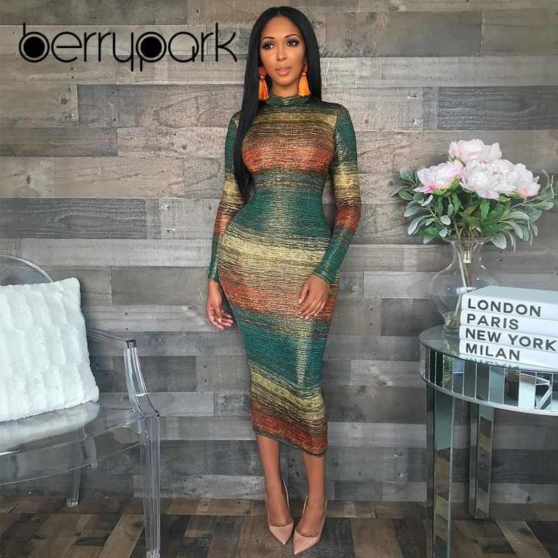 BerryPark Fashion Gradient Print Multi Bodycon Dress 2019 Winter Women  Turtleneck Long Sleeve Sheath Stretchy Mid Dresses 44d630544cc8