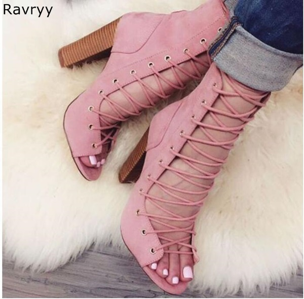Summer fashion girl's love Woman sandals pink suede leather lace up Sexy Pumps cut outs design square heel female dress shoes все цены