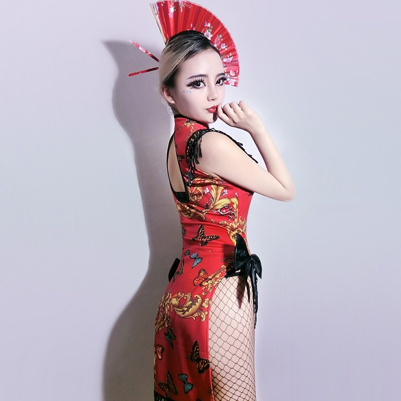 e41cbdd3f Cosplay Costumes DJ Woman Singer Retro Cheongsam Cos Dress Bar DS Geisha  Performance Sexy Dance Nightclub Gogo Costume,SC27-in Movie & TV costumes  from ...