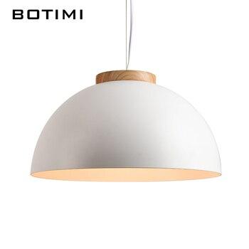 Botimi новые белые подвесные светильники E27 Деревянный Обеденный света с металлическим абажур современный светодиодный подвесной светильник ...
