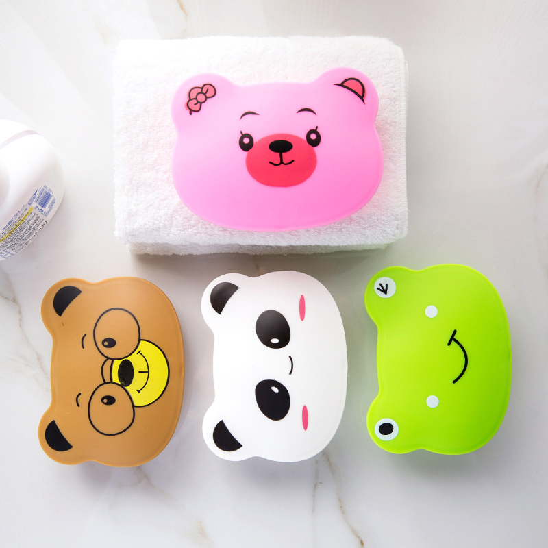 Capped lid soap box toilet cute cartoon soap tray creative portable travel waterproof soap box