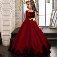 Meninas de flor de Cetim Natal Princees Vestidos de Dama de honra de Casamento Pageant Festa Formal Vermelho Amarelo