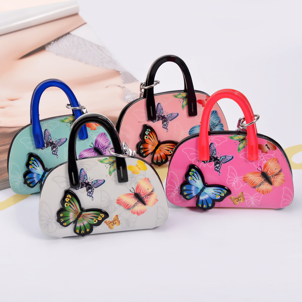 S.vex Acrylic Butterfly Keychain Keyring Bag Shaped Women Men Bag Car Accessories Fashion Key Chains Statement Handbag Keys