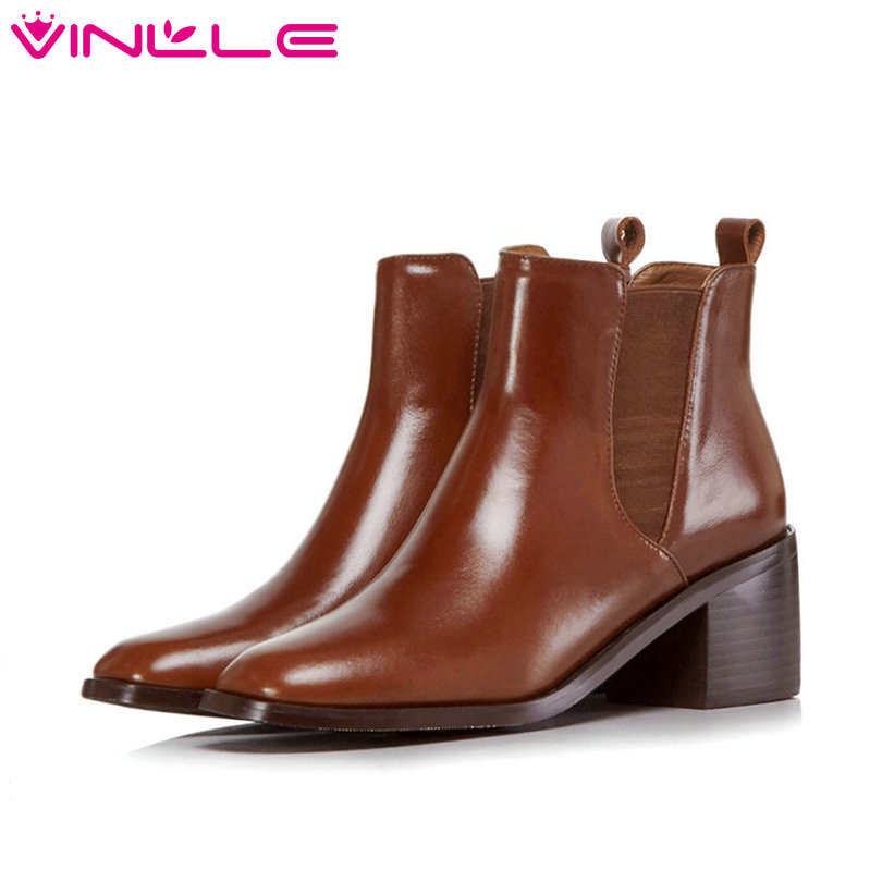 VINLLE 2019 Winter Shoes Woman Ankle Boots Square Low Heel