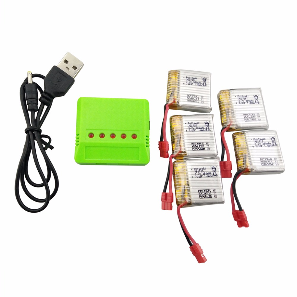5 battery For SYMA X21 X21W X26 quadcopter Quadcopter spare parts 5PCS <font><b>3.7V</b></font> <font><b>380mah</b></font> Lipo battery with 5-in-1 charger image