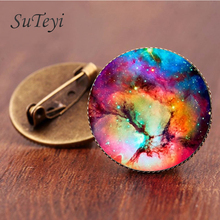 SUTEYI 2017 Sale Charming Astronomy Geek Jewelry Sci-fi Science Galaxy Brooch Gift Wholesale Outer Space Nebula Pture Brooches
