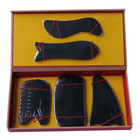 New Arrival Good quality 100% Natural black ox horn comb guasha plate fish and S shaped 5pcs/set face body massage 0030