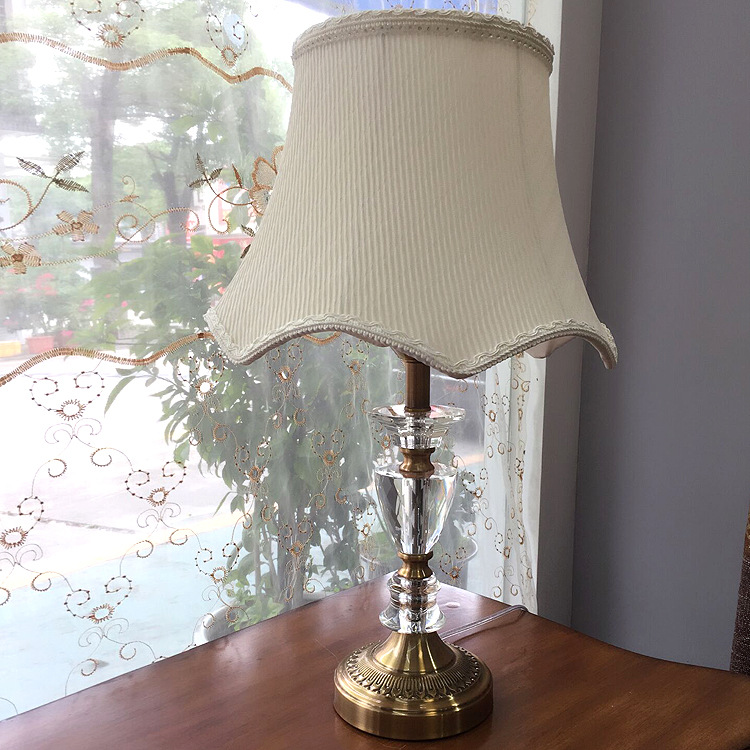 TUDA 30X55cm Free shipping Americam Vintage Style Table Lamp High Grade White Fabric Lampshade Table Lamp Crystal Table Lamp