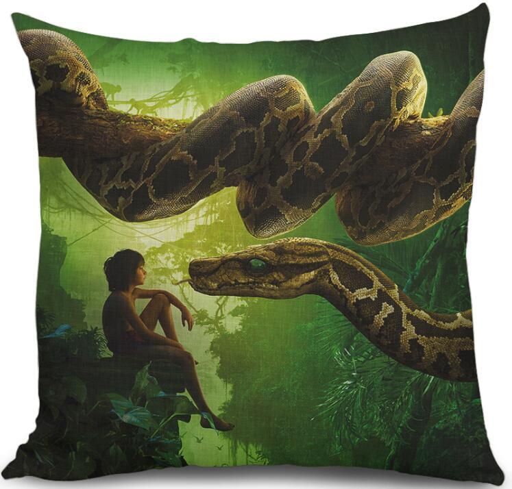 Cotton Linen 45cmx45cm Decorative Cushion Cover Jungle Book Snake Mowgli Pillow Case Fashion Art Printing Cushion Case Soft