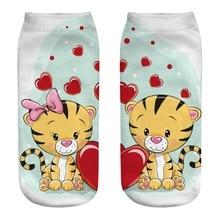 3Pairs/Lots New animal Cartoon 3d printed socks tiger boy girl universal B02