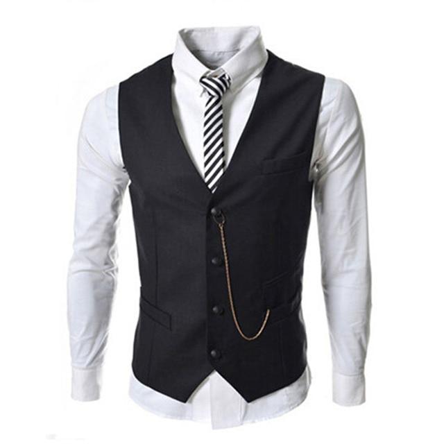 Moda terno dos homens novos colete corrente de metal decorado magro business casual homens vest para o clássico 8671