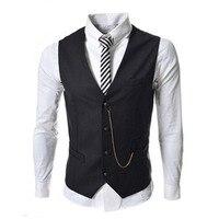 Người đàn ông mới của phù hợp với thời trang vest kim loại chuỗi trang trí slim kinh doanh bình thường men vest cho classic 8671