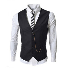 new men's fashion suit vest metal chain decorated slim business casual men vest for classic 8671