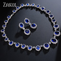 ZAKOL Exquisite Oval Imitation Sapphire Zirconia Jewelry Set With Luxury Silver Plated For Bridesmaid Jewelry FSSP018