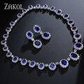 ZAKOL Exquisito Oval Imitación de Zafiro Zirconia Conjunto de Joyas de Lujo de Plata Plateado Para La Joyería de la dama de Honor FSSP018