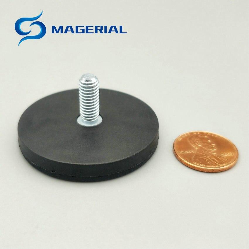 0457582f299b 6 unids lote disco magnético con caucho recubierto diámetro 43mm LED que  sostiene el sostenedor imán fuerte del neodimio del imán de NdFeB