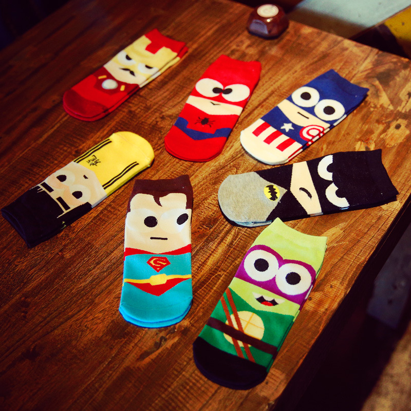 14pieces=7pair/Set Summer Harajuku Funny Colors Meias Superhero Superman Batman Calcetines Novelty Happy Ankle Cotton Men Socks
