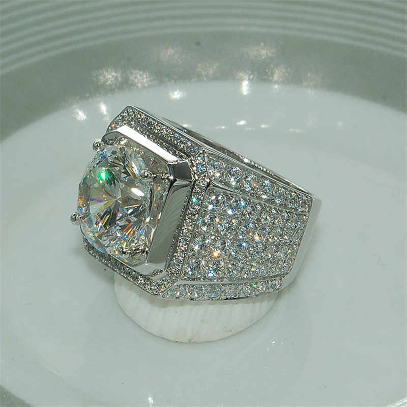 Choucong, роскошное мужское кольцо, круглое, 4ct, 5A, циркон, кристалл, белое золото, заполнено, обручальное кольцо, кольца для мужчин, уникальные ювелирные изделия