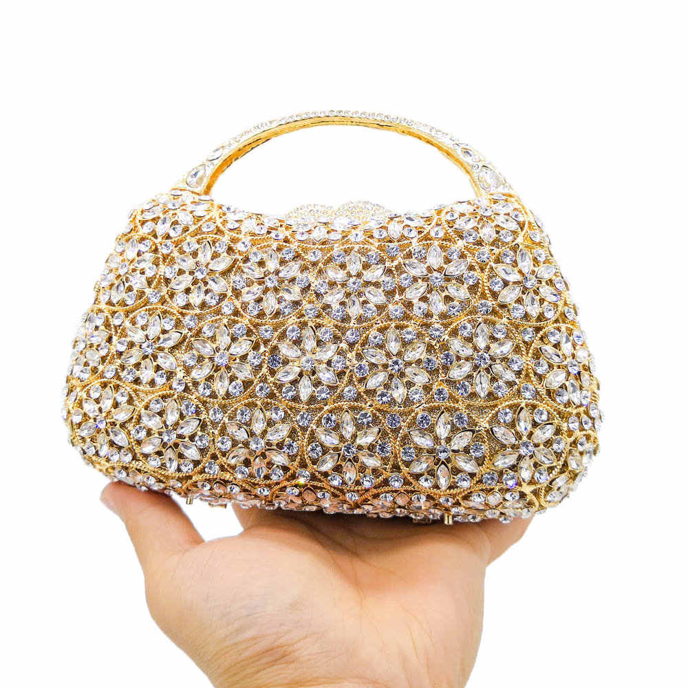 Boutique De FGG Dazzling Snow Hollow Out Women Top-Handle Crystal Evening Bags Wedding Clutch Minaudiere Handbags and Purses
