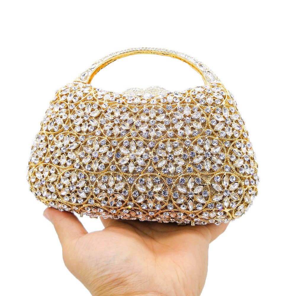 Boutique De FGG deslumbrante Snow Hollow Out mujeres Top Handle Crystal noche bolsos boda embrague Minaudiere bolsos y monederos-in Bolso de noche from Maletas y bolsas    2