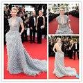 Naomi Watts de pena Beading traseira aberta vestidos de festa vestidos de Cannes celebridade vestido de manga curta CD16