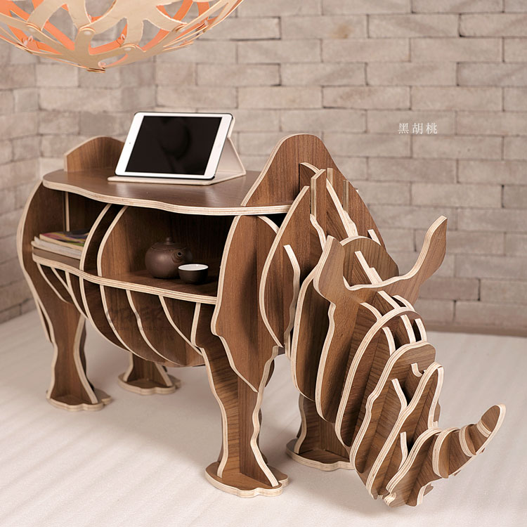 815 57 Usine Gros Style Europeen Rhinoceros Bois Table Basse Bureau Artisanat Cadeau Bureau Auto Construire Puzzle Meubles Livraison Gratuite