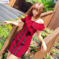 Women Dress Summer Fashion Sexy Asymmetry Collar One Shoulder Ruffled Sleeve Lace Patchwork Stripe Buttons Work
