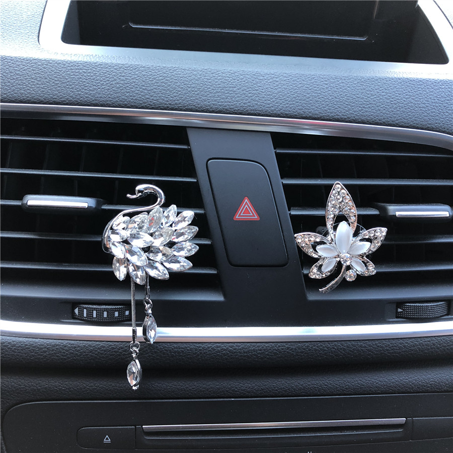 Hazy beauty Crystal Swan Pendant Air fresh supplies in the car Air vent ornament Car Air Freshener Car Perfume car outlet perfume air freshener with thermometer lime
