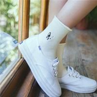 5 Pairs Winter Warm Cute Cartoon Animal Dog Socks Cotton Embroidery Pug Husky Bulldog Pattern Socks
