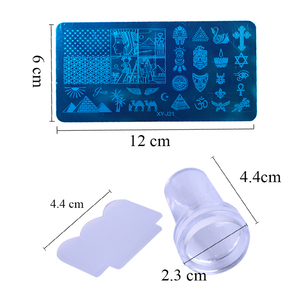 Image 4 - 1 Set Nail Art Stamping Plates Geometry Lace Animals With Sponge Stamper Scraper Stencils For Nail Polish Template LA804