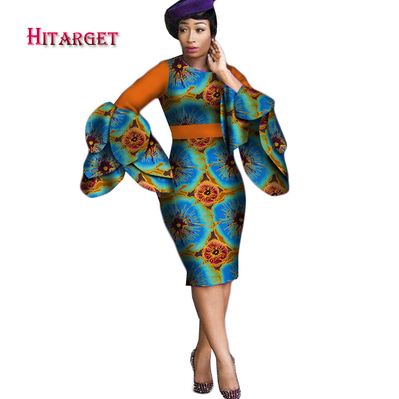 Dashiki Dress 2019 Autumn Long Sleeve Vintage Traditional African Dresses for Women Print Bodycon Sexy Dress Plus Size WY2414 in Africa Clothing from Novelty Special Use