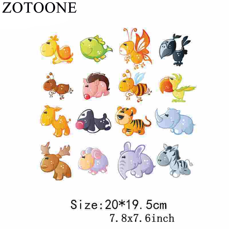 Zotoone Tiger Dog Iron-on Transfers Thermal Patches For Clothing Embroidery Applique Diy Heat Transfers For Clothes Baby Sticker