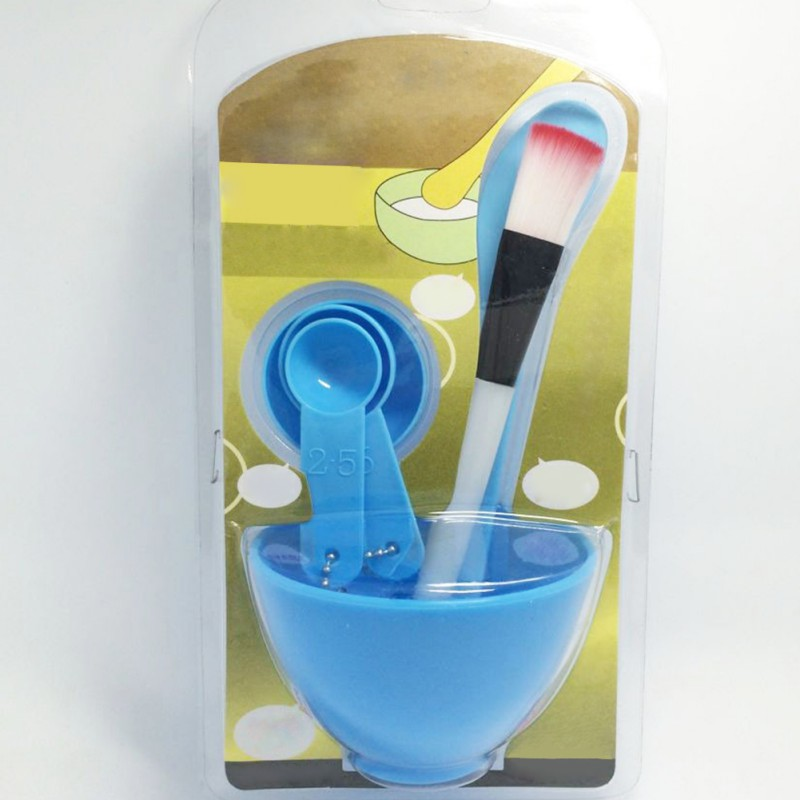 Plastic 4 in 1 DIY Facial Beauty Mask Bowl Women Ladies Cosmetic Tool Mixing Spong Brush with Stick Brush Set