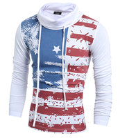 Freeshipping High Quality Slim Fit Streetwear Hoodie Men Stripe Casual American Flag Print Pullover Sweatshirts H7752