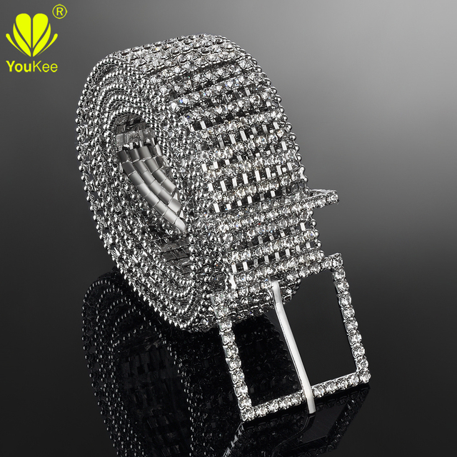 Hot Woman Belts Full Rhinestone Silver Belts For Women Belly Chain Belt Luxury Metal Elastic Belt  Ladies Ceinture Femme BL-568
