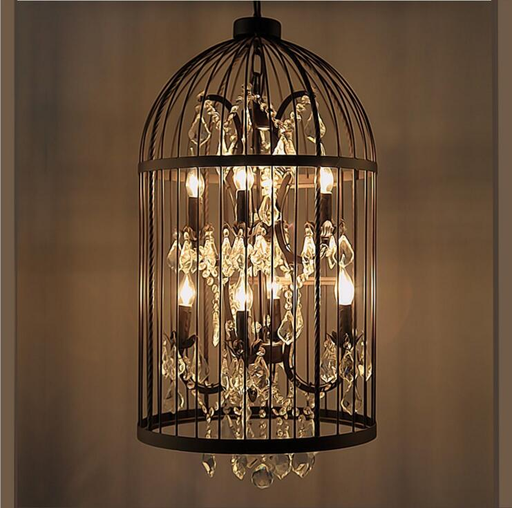 купить American Village Creative Retro Iron Birdcage Crystal Clothing Store Restaurant Bar Table Lamp Villa Project Chandelier led lamp недорого