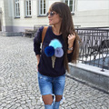 Suor Femme Moda Camisola Mulheres Roupas Impressão Sorvete 3D Bola de Pelúcia Kawai Bonito Hoodies Casuais de Algodão de Manga Longa Pullover