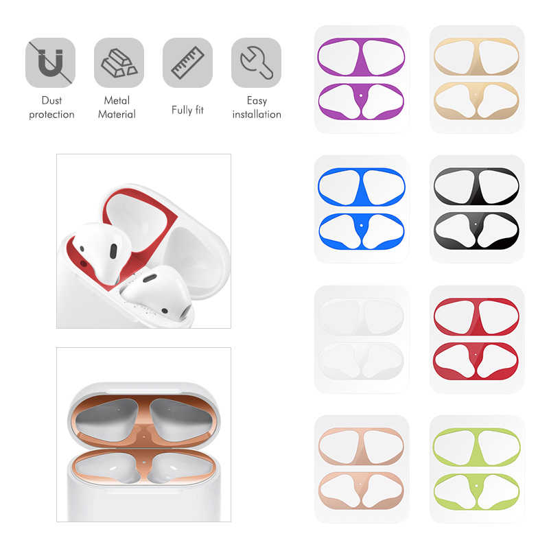 Metal Dust Guard sticker For Apple AirPods Case Cover Dust-proof Protective Sticker Case Skin Protector for Air Pods Accessories