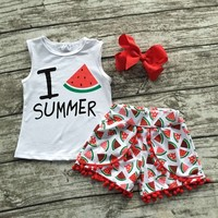 Children Summer Shorts Girls Sleeveless Outfits Baby Girls I Love Summer Clothing Girls Boutique Outfits With
