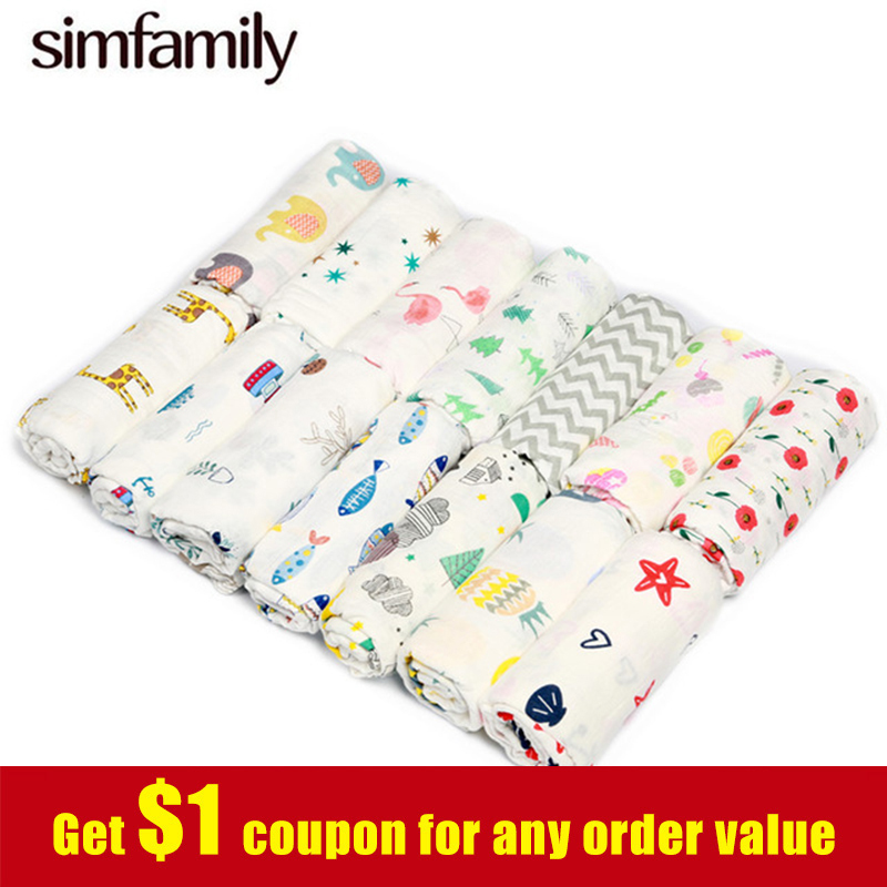 [simfamily] 100% Muslin Cotton Baby Swaddle Multi-use Baby Blankets Newborn Swaddle Muslin Infant Gauze Both Towel Baby Warp[simfamily] 100% Muslin Cotton Baby Swaddle Multi-use Baby Blankets Newborn Swaddle Muslin Infant Gauze Both Towel Baby Warp