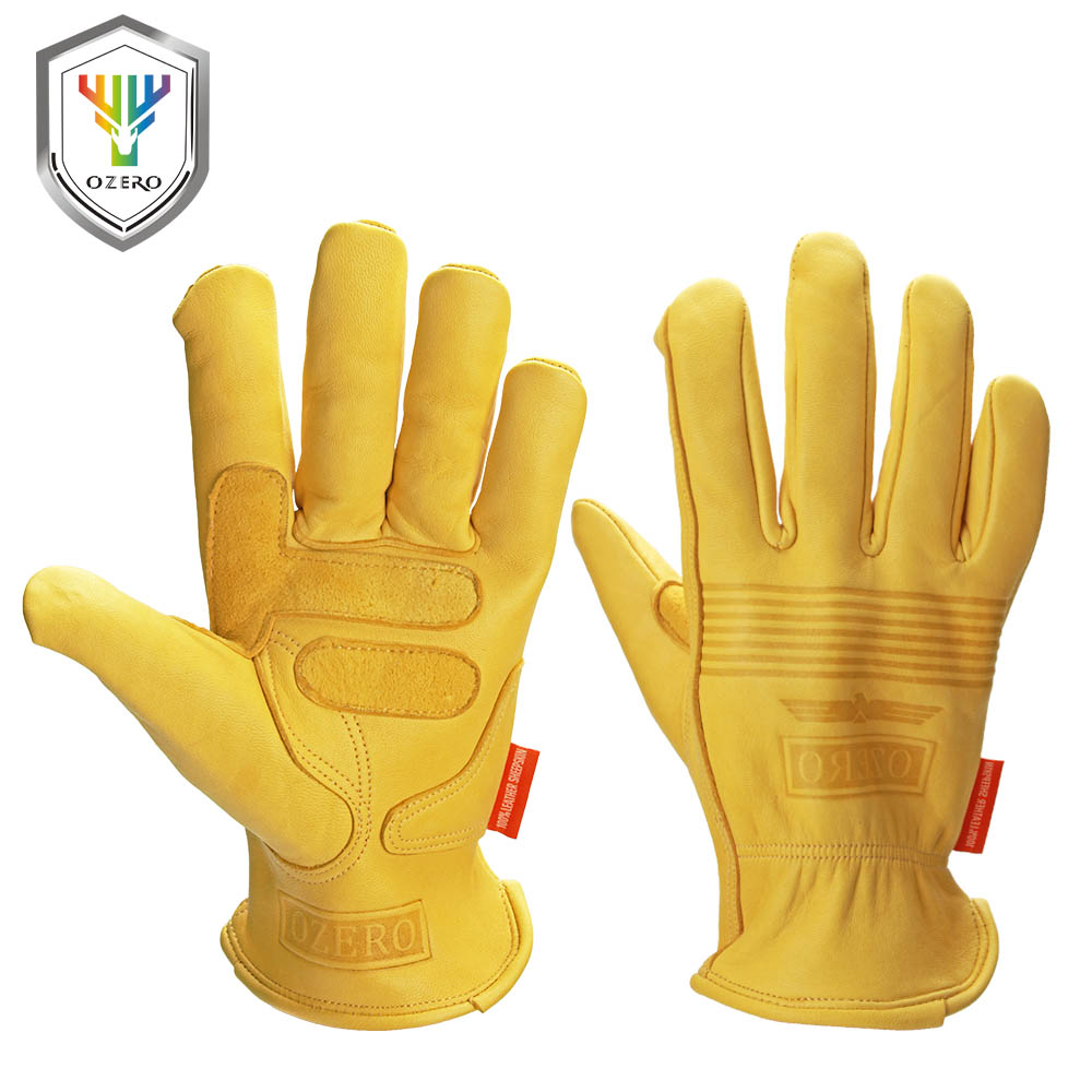 OZERO Work Gloves Sheepskin Leather Security Protection Safety Cutting Working Repairman Garage Racing Garden Gloves For Men0009