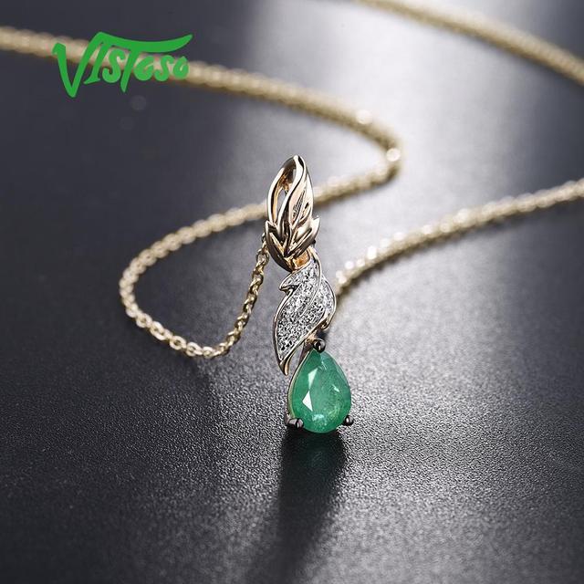VISTOSO Gold Pendants For Women Authentic 14K 585 Yellow Gold Magic Emerald Sparkling Diamond Chic Necklace Pendant Fine Jewelry 4